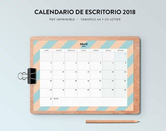 printable Desktop calendar 2018/PDF Format/sizes A4 and USLetter/12 months + home/start Monday and Sunday/geometric