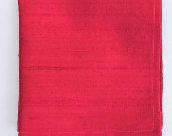 Silk Hankie Pocket Square Handkerchief 100% SILK DUPION Burgundy Red - UK Made