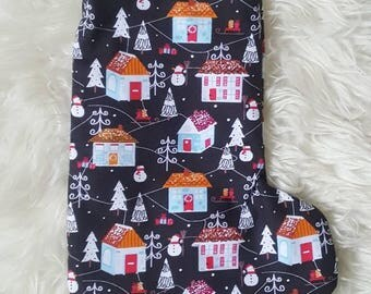 Christmas Houses and Smowman Handmade Christmas Stocking,Christmas present,Can be Personalised