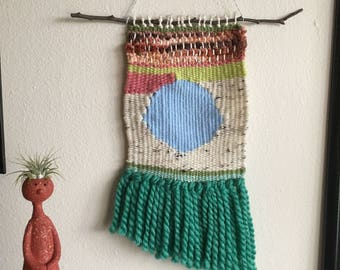 Blue Dot Weaving | Woven Wall Hanging