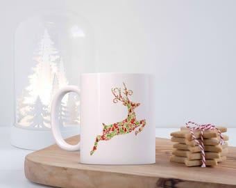 Fun Print Reindeer Mug, Christmas Coffee Mug, Mug With Saying, 11 oz Mug, Merry Christmas, Cute Christmas Mug, Christmas Gift, Cute Gift