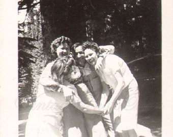 Vintage Photograph Girls Having Fun