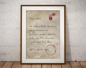 Wine Humour, Wine Print, Wine Lover, Word Prints, Wine Wall Art Print, Gift for a Friend, Gift for Wine Lovers