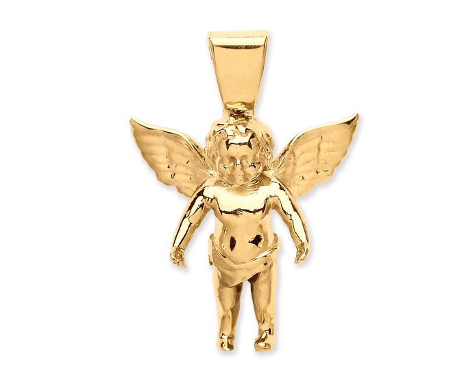 9ct Gold Angel Charm Pendant Hallmarked 25x20mm