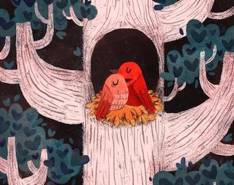 Valentine Decor print, Love Birds print, illustration print 10 x 8 inches, 7 x 5 inches