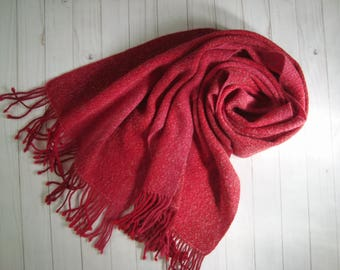 Handwoven red alpaca scarf Women wrap Woolen womens wool scarf fringe Red and pink natural wool winter scarf Warm ladies hand woven wrap