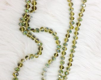 Long Beaded Necklace in Olive Foil
