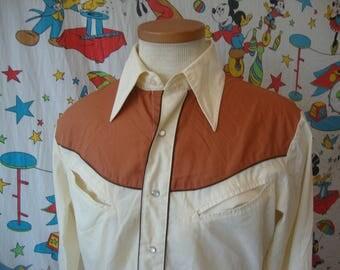Vintage Border Town Western Pearl Snap Rockabilly Long Sleeve Cowboy Shirt Sz M