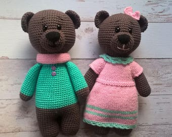 Crochet bears Stuffed animals Eco-friendly toys Gift for doughter Brown bears Woodland animals Stuffed Bears Funny animals Amigurumi bears