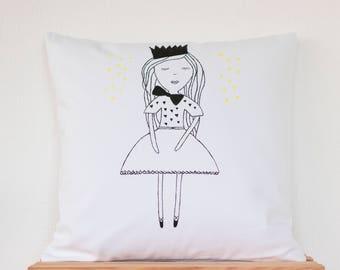 Princess Handpainted Cushion, Scandi Cushion, Kids Room, Home Decor Cushion, Princess Cushion, Cover Pillow Cushion, Modern Cushion, Cotton