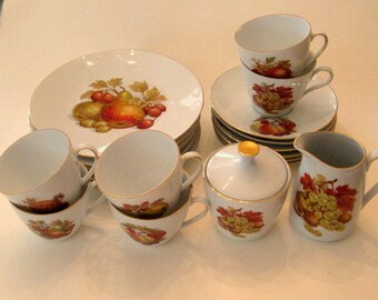 Fantastic 22 piece Cake Set Bareuther Bavaria Germany Fruits 100 Year