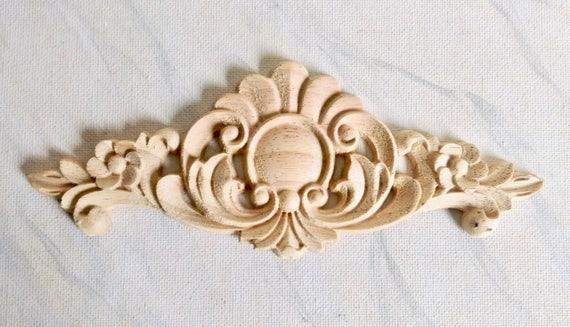 Flower wood applique furniture applique wood onlay for Applique furniture decoration