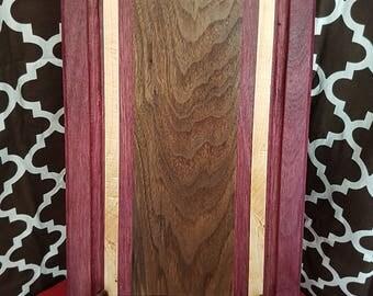 12x18 purple heart, wanut and maple pattern cutting board.