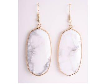 Howlite drop earrings, drop earrings, dangle earrings, white earrings, white jewelry, white turquoise earrings, white turquoise