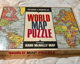 Vintage Rand McNally World Map Puzzle by Salchow & Righter Co.