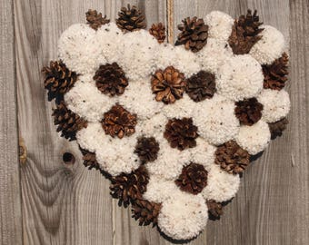 Large Hanging Heart, pompoms, pinecones, Speckled oatmeal cream