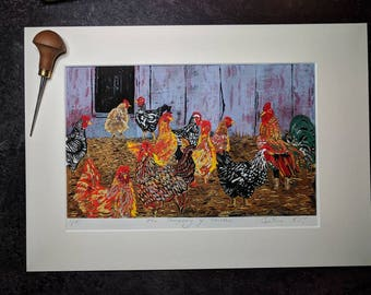 The Company of Chickens - a limited edition linoprint