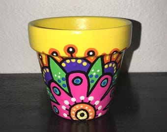Small Hand Painted Flower Pot