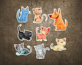 """Printed Chipboard Shapes #011 """"Cats & Dog"""""""