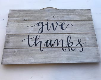 Give Thanks Pallet White Wash Wood Sign