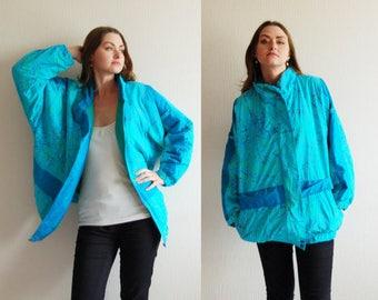 Vintage 90s Women Turquoise blue Puffer Jacket Coat, 90s Ski Suit Windbreaker Winter Padded Coat Snowboarding Insulated Warm Zipper Pockets