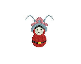Mini Chinese Peking Opera- Machine Embroidery Design-3 SIZES-Filled Stitch