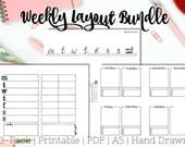 Weekly Planner Layout Bundle, 3-Pack Instant Download, Printable A5, Weekly Layout, Planner Bundle, PDF, Weekly Log, Dot Journal