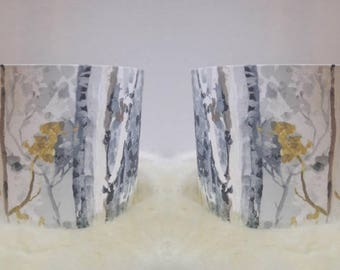 Lampshades / Pair of Fabric Lampshades / Handmade / Grey / Mustard / Yellow / Abstract / Prestigious Silver Birch / Ceiling / Floor Lamp