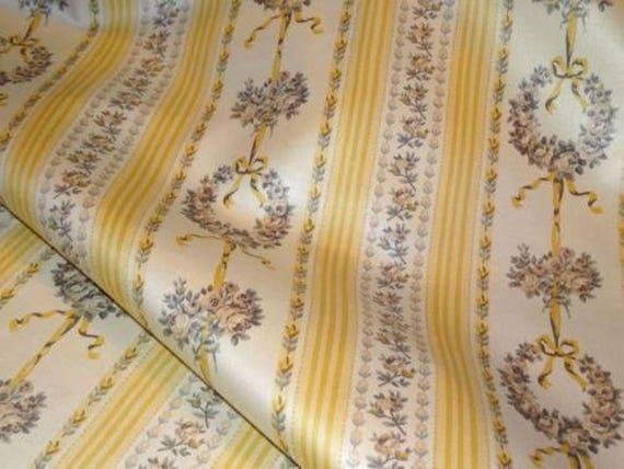 Covington LEMON Yellow Shades Floral Stripe Cotton Home