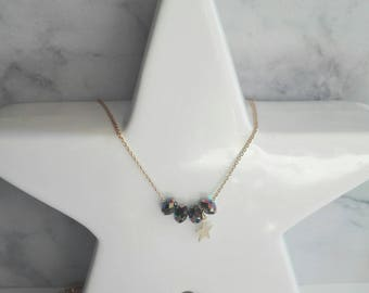 Swarovski scarabaeus and star charm beads Charlotte, gilded with fine gold chain necklace