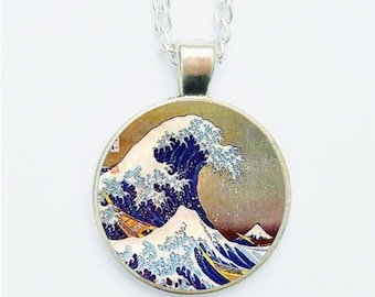 Oriental Landscape Pendant Necklace / Earrings / Ring / Pin Badge Asian Japanese Ocean Wave Woodblock Style Handmade Jewellery Jewelry