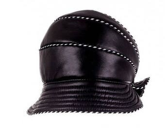 LEATHER WOMEN HAT Handmade black cap New band beret hat Autumn winter hat  Christmas gift for girlfriend women accessories  Warm hat cap