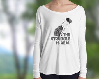 Hedgehog: The Struggle is Real Funny Long Sleeve Shirt by Urchin Wear -Cute Ladies Long Sleeve Hedgehog T-Shirt