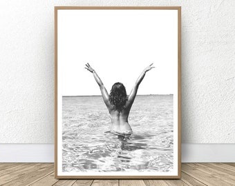 Coastal Style, Contemporary Print, Black and White Print, Digital Download, Coastal Photography, Beach Art, Woman in Ocean Photo Wall Art