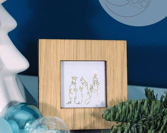 Crib-3 Kings, miniature frame with art print for hanging or standing, black-white or black-gold, 7x7cm