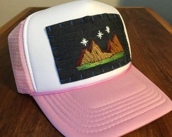 Handmade Embroidered Trucker Hat : Mountain Series, Women's Hats, Gifts for her, Christmas gift for girlfriend, Mountain Art, Outdoor Lovers