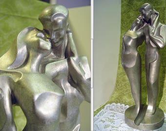 """Mid Century Modern 17"""" Tall """"Fluid Caress"""" by Famed Russian Sculptor Alexander Alexsander Danel Metal Figures Sculpture"""