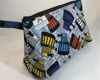 Large Zipper Pouch Daleks Doctor Who Colourful