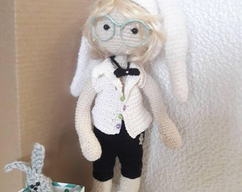Crochet boy doll in a carnival bunny costume Crochet doll with wire frame Gift for children  Interior doll Gift for  boyfriend or girlfriend