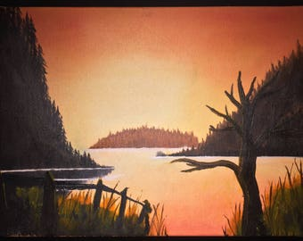 Sunset, sunrise, at the lake, northern islands, small oil painting