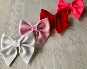 Felt Sailor Bow | Bow Sets | Set of Three | Baby Nylon Headbands | Baby Hair Clips | Baby Hair Accessories | Felt Bows | Sailor Bows