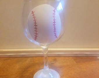 Baseball Wine Glass
