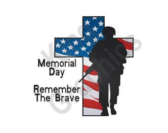 Patriotic Cross Soldier - Machine Embroidery Design, Memorial Day, Remember The Brave