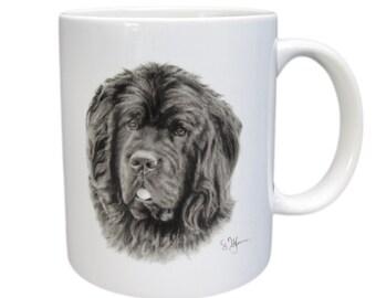Cup Newfoundland coffee mug made of white ceramics with black print