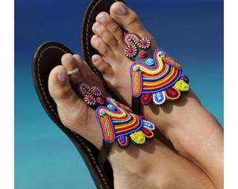 ON SALE AFRICAN Sandals, Women Sandals, Leather Sandals, Colorful Sandals, Tribal Sandals, Summer Sandals, Beaded Sandals, Masai Sandals,Wom