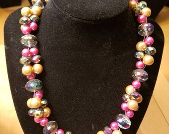 Pink and Gold cluster party necklace handmade