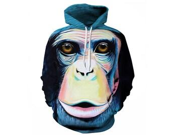Monkey Hoodie, Monkey, Monkey Hoodies, Animal Prints, Animal Hoodie, Animal Hoodies, Monkeys, Hoodie, 3d Hoodie, 3d Hoodies - Style 3