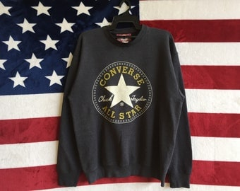 Vintage 90s Converse All Star Sweatshirt Chuck Taylor All Star Sweater Pullover Grey Colour Converse Jumper Medium Size Made In Usa