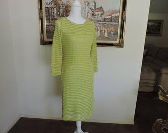 Green crochet vintage women's dress