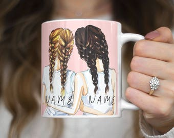 Personalized Custom Text Best Friend Initials Every Blonde Needs A Brunette Bestie Heat Resistant White Ceramic 11 oz Coffee Tea Mug | C157